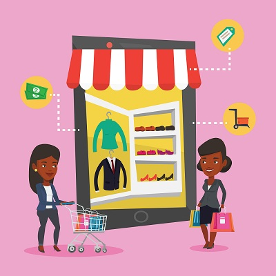 cartoon of two people shopping