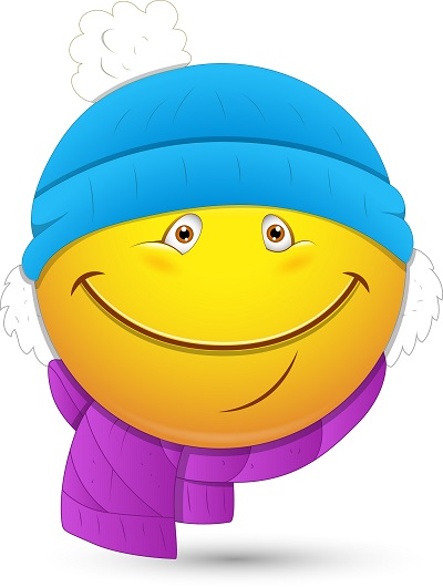 smiley face with scarf and hat