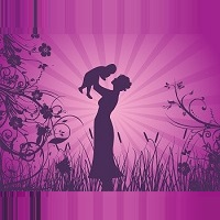 silhouette of mom with child