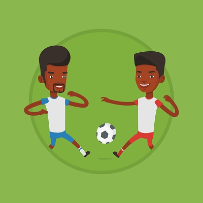cartoon two man playing soccer