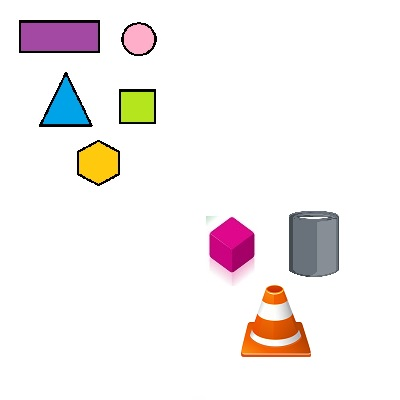 solid and flat geometric shapes