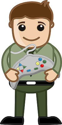 cartoon of kid with game remote control