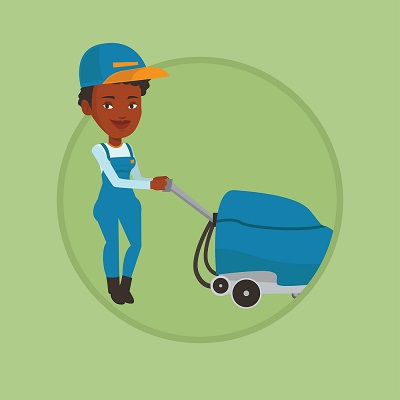 illustration of woman with vacuum